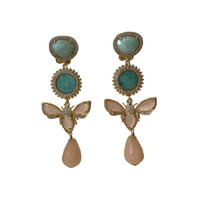 Earrings with Amazonite, Agate, Crystal and Aventurine