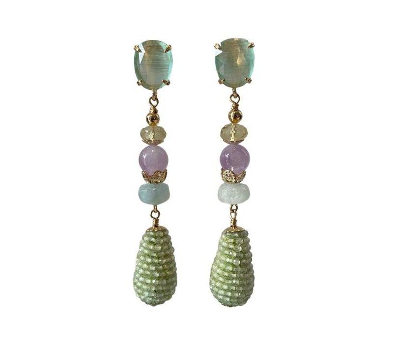 Earrings with Prehnite, aquamarine, amethyst, lemon quartz and cat's eye