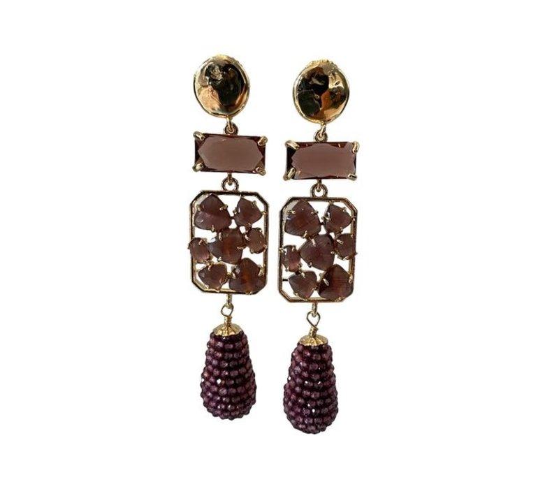 Earrings with Bras, Crystal, Cat's Eye and Garnet