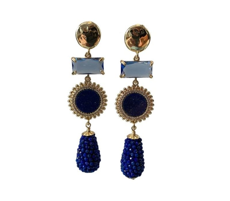 Earrings with Bras, Lapis Lazulite and Crystal
