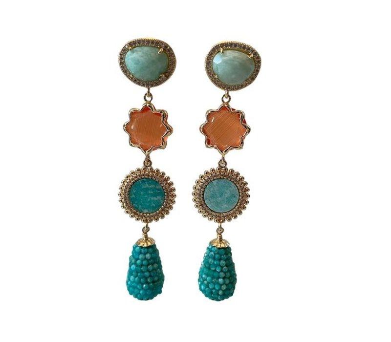 Earrings with Amazonite, Cat's Eye, Amazonite Crystal and Amazonite Pegel