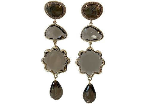 CLASSIC COLLECTION Grey, brown earring