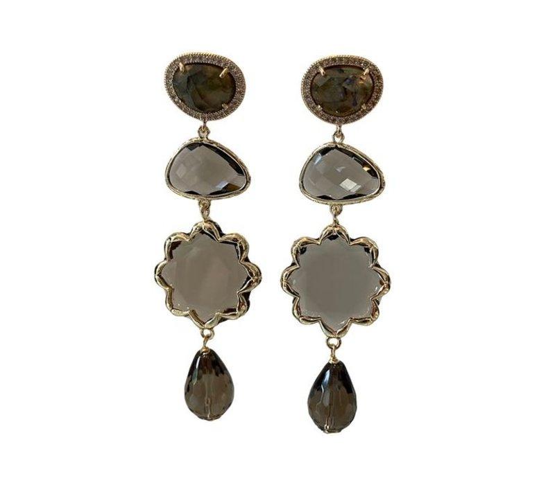 Earrings with Labradorite and Smoky Quartz