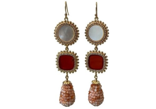 CLASSIC COLLECTION White, Red, Pink earring