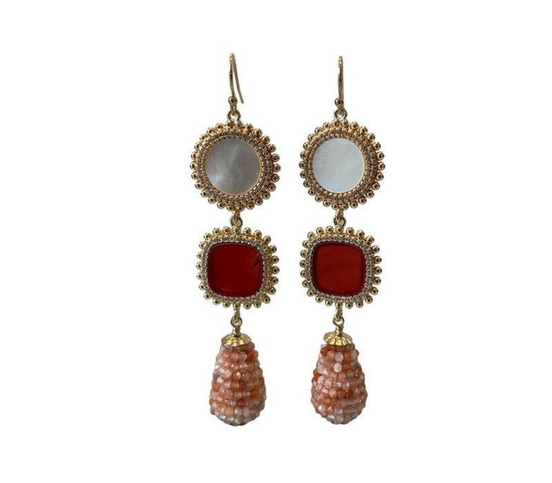 Earrings with Pearl, Carnelian and icicle with strawberry quartz