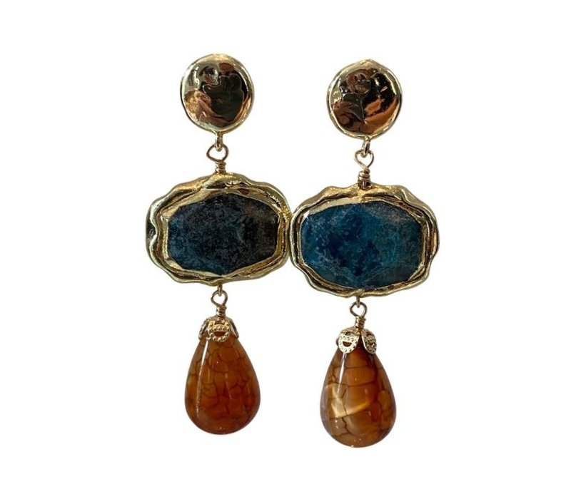 Earrings with Bras, apatite and tiger agate