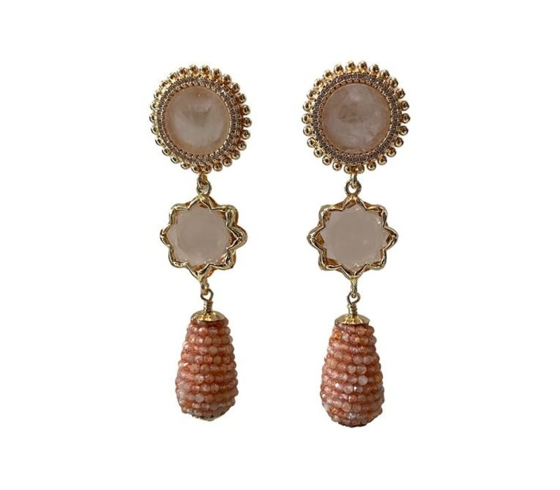 Earrings with Rose Quartz, Crystal, Cat's Eye and Cone with Sandstone
