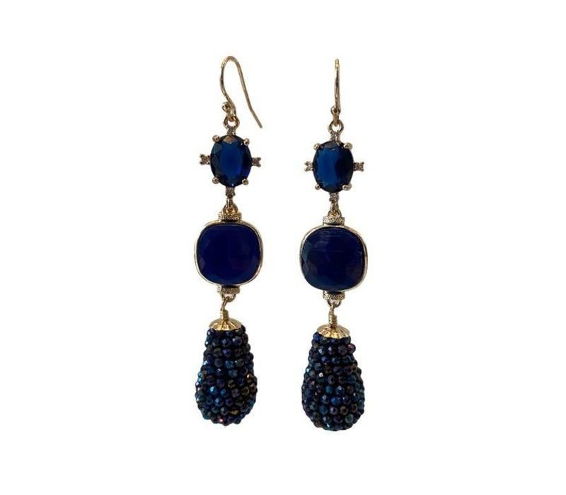 Earrings with crystal, cat's eye and icicle with coated spinel