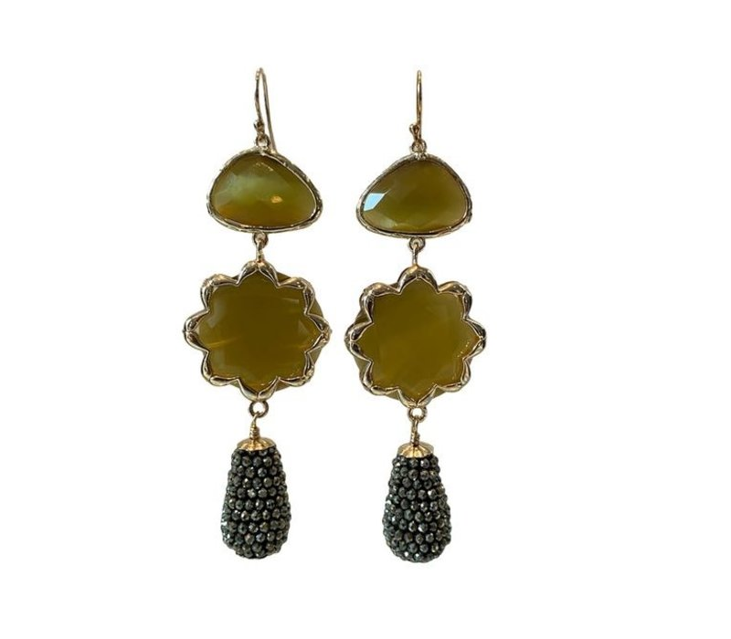 Earrings with crystal, cat's eye and icicle with coated spinel - Copy