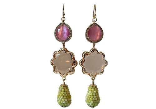 CLASSIC COLLECTION Pink, Nude, Green earrings