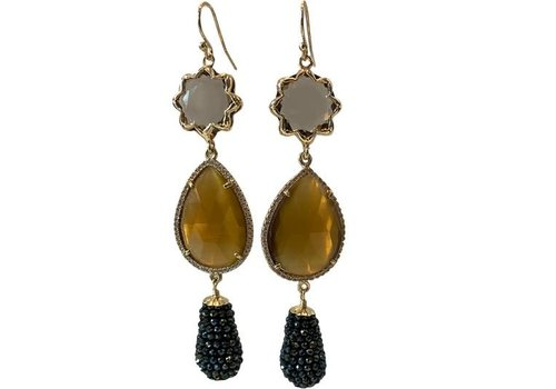 CLASSIC COLLECTION Grey, brown, green earring
