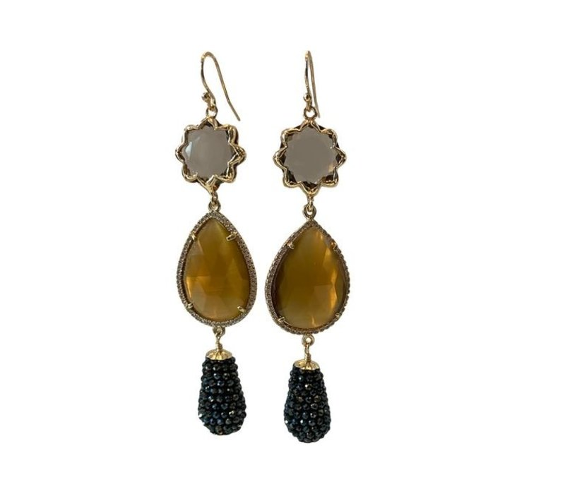 Earrings with cat's eye, cat's eye with crystal and icicle with coated spinel