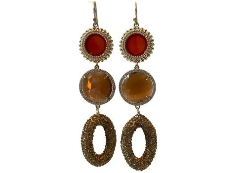 CLASSIC COLLECTION Rood, bruin, gouden oorbel