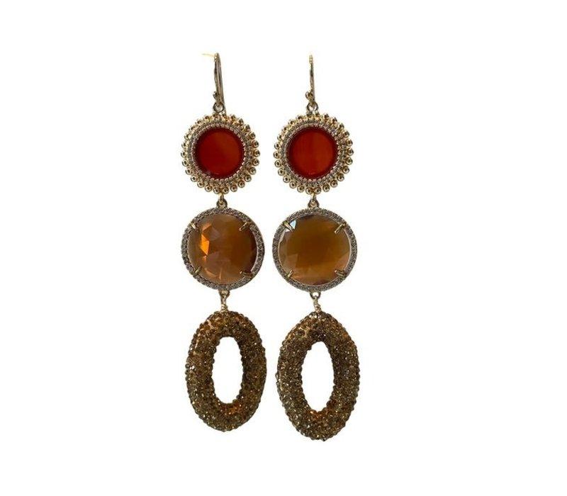 Earrings with Carnelian, Crystal, Cat's Eye, Markasite