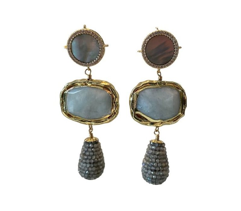 Earrings with Mother of Pearl, Crystal, Aquamarine and Pegel with Labradorite