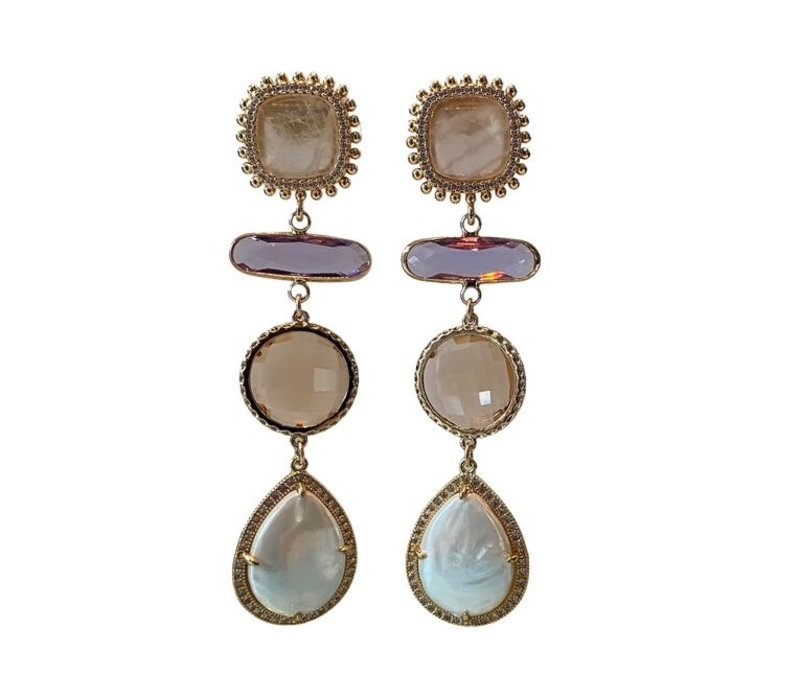 Earrings with Rose Quartz, Crystal, Mother of Pearl