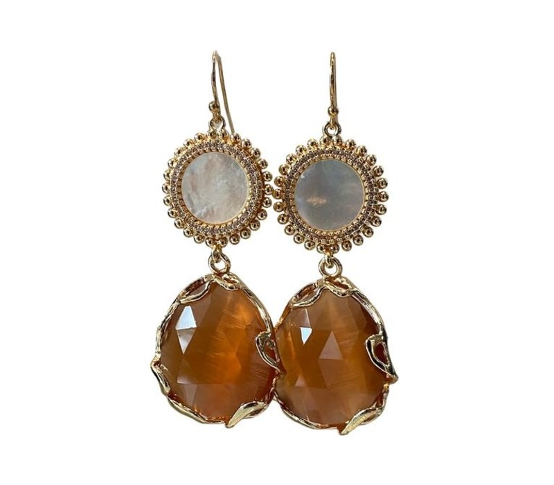 Earrings with mother-of-pearl, crystal and cat's eye