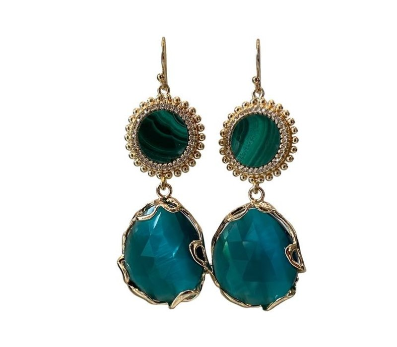 Earrings with Malachite, Crystal and Cat's Eye