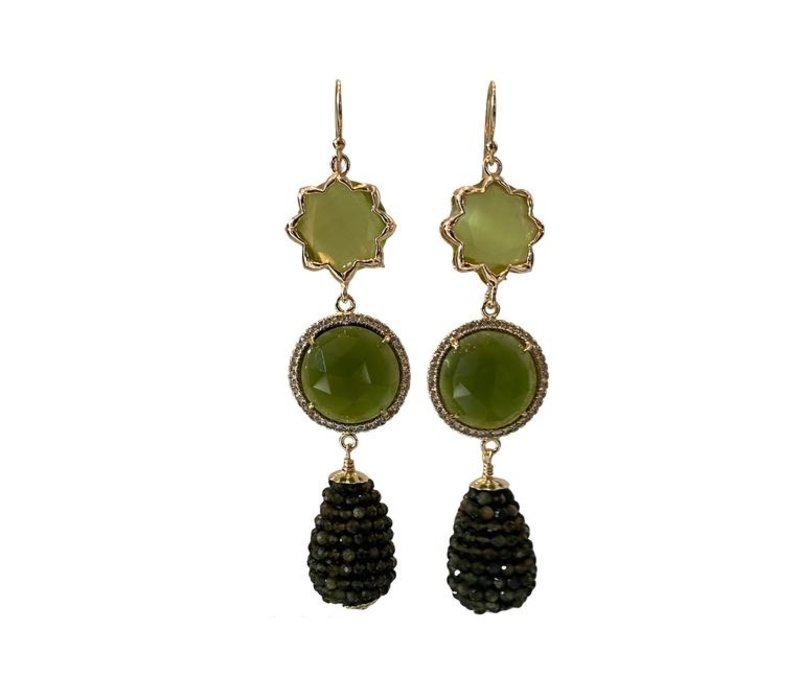 Earrings with Cat's Eye, Cat's Eye, Crystal and Pegel with Beryl