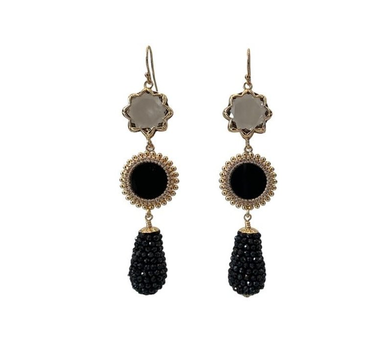 Earrings with Cat's Eye, Onyx, Crystal and Pegel with Spinel