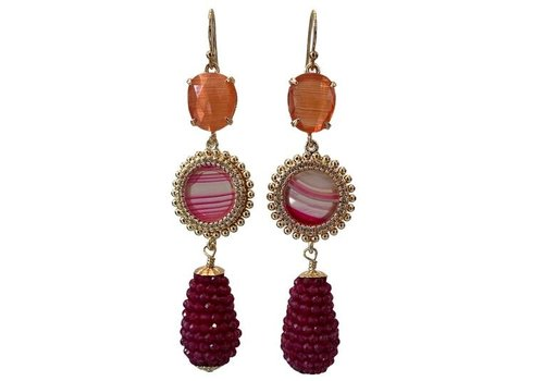 CLASSIC COLLECTION Oranje, Roze Oorbel