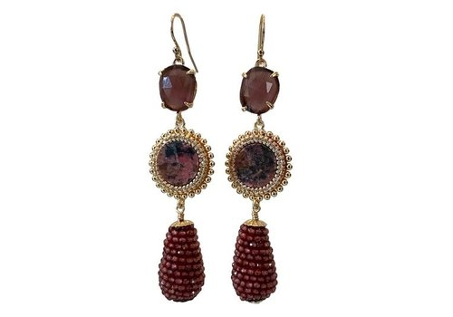 CLASSIC COLLECTION Brown, red earring