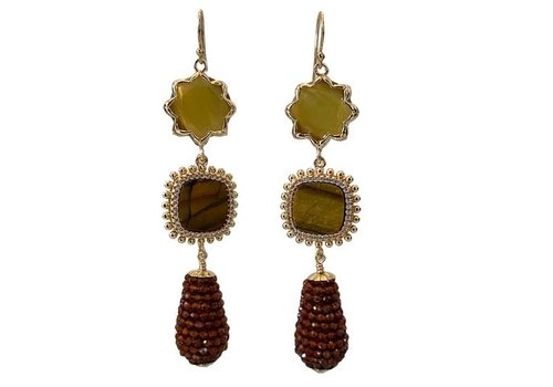 CLASSIC COLLECTION Green, Brown Earring