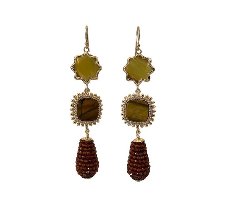 Earrings with Cat's Eye, Tiger's Eye, Crystal and Pegel with Garnet