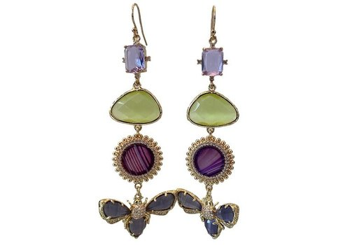 CLASSIC COLLECTION Purple, Green earrings
