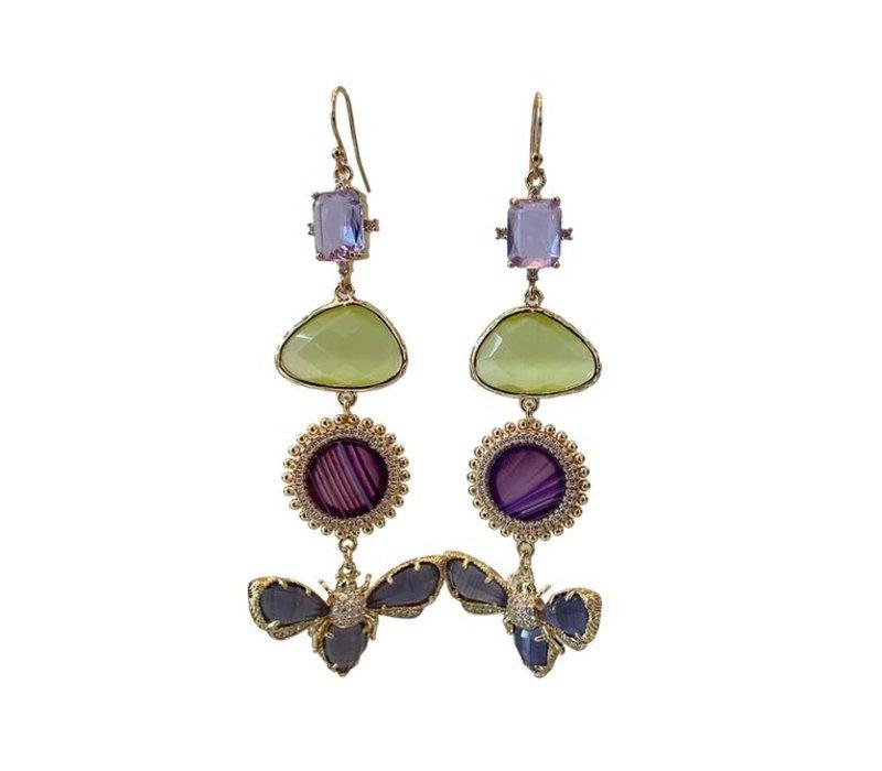 Earrings with Crystal, Cat's Eye, Agate, Agate, Crystal