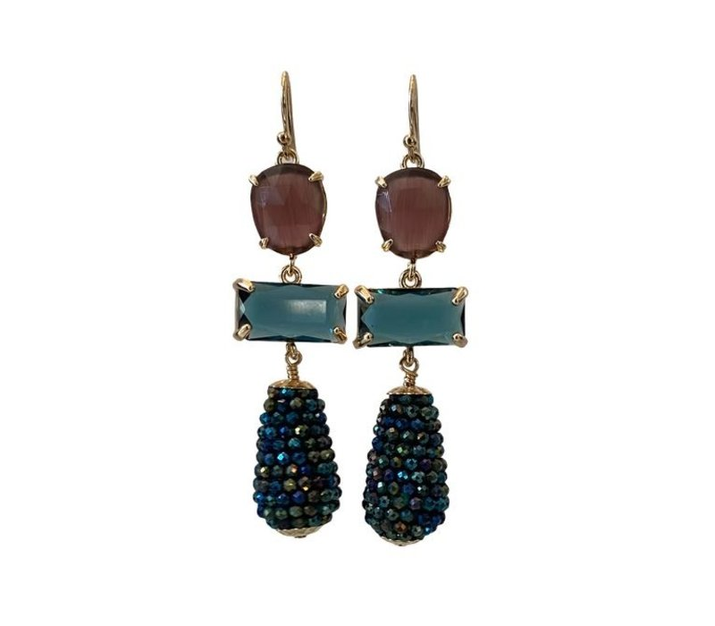 Earrings with Cat's Eye, Crystal and Cone with Coated Spinel