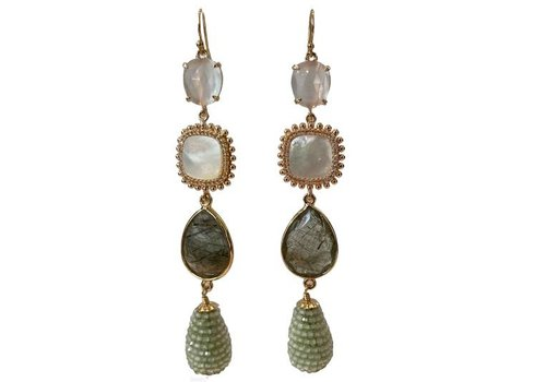 CLASSIC COLLECTION White, Grey, Green Earrings