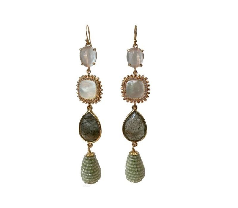 Earrings with Cat's Eye, Pearl, Crystal, Moss Agate and Pegel with Prehnite