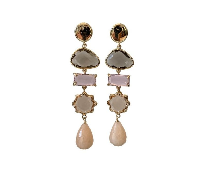 Earrings with Bras, Crystal, Crystal, Cat's Eye and Aventurine