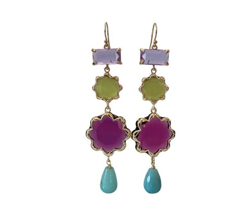 Earrings with Crystal, Cat's Eye, Cat's Eye, Amazonite