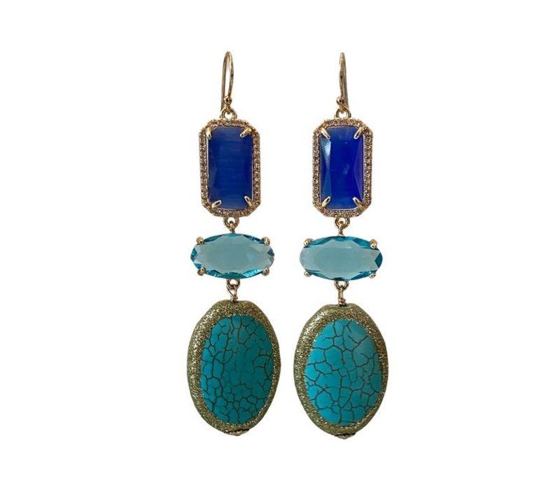 Earrings with Cat's Eye, Crystal, Crystal and Turquoise