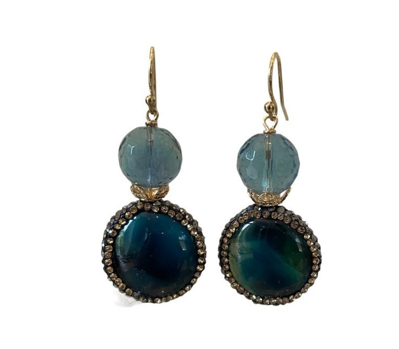 Earrings with Fluorite, Agate and Marcasite