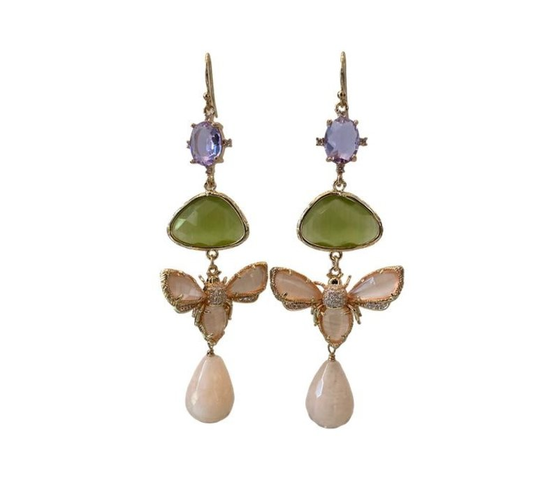 Earrings with Bras, Crystal, Crystal, Cat's Eye and Aventurine - Copy