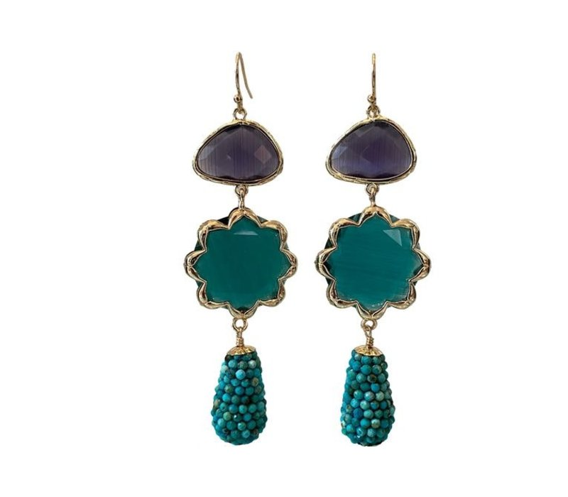 Earrings with Cat's Eye, Cat's Eye and Pegel with Turquoise