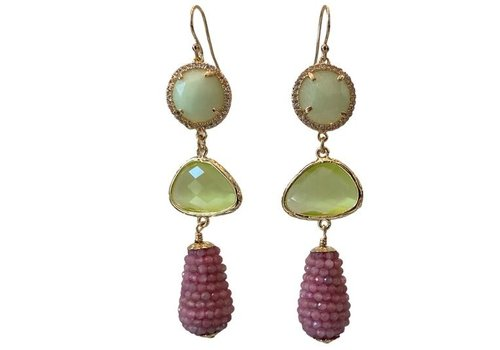 CLASSIC COLLECTION Green, Pink Earrings