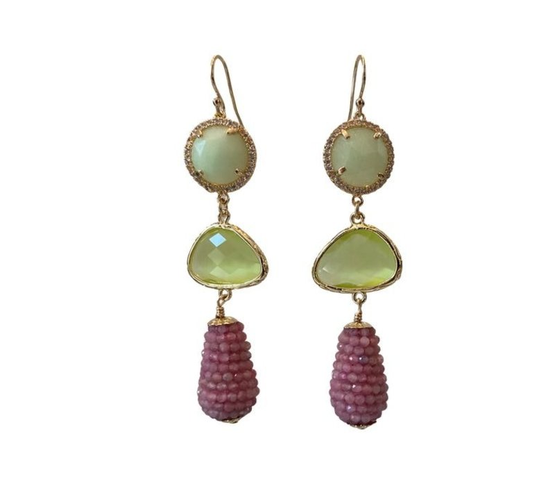 Earrings with Crystal, Agate, Cat's Eye and Pegel with Pink Tourmaline
