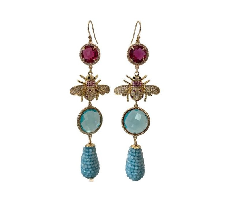 Earrings with Crystal and Pegel with Aquamarine