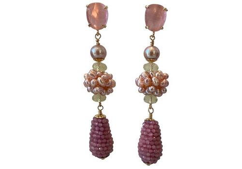 CLASSIC COLLECTION Pink, Green Earrings