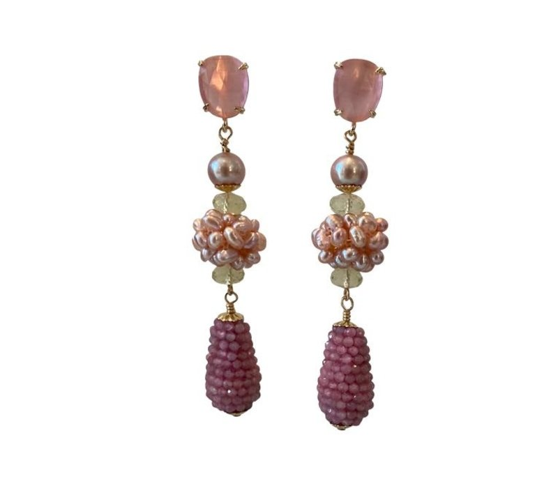 Earrings with Cat's Eye, Pearl, Lemon Quartz and Pegel with Pink Tourmaline