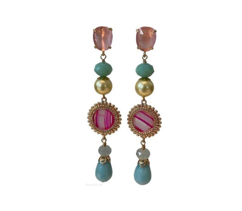 Earrings with Cat's Eye, Crystal, Imitation Pearl, Agate, Aquamarine and Amazonite