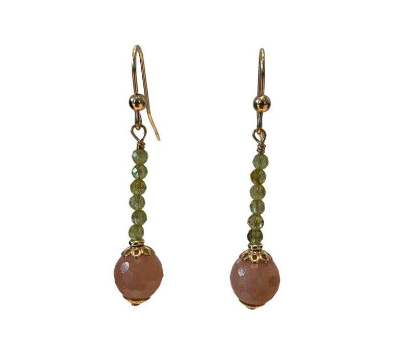 Earrings with Perdidot and Moonstone