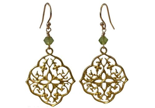 TREND COLLECTION Gold, Green Earrings