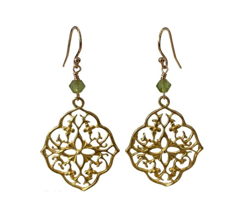 Earrings with Peridot and Bras