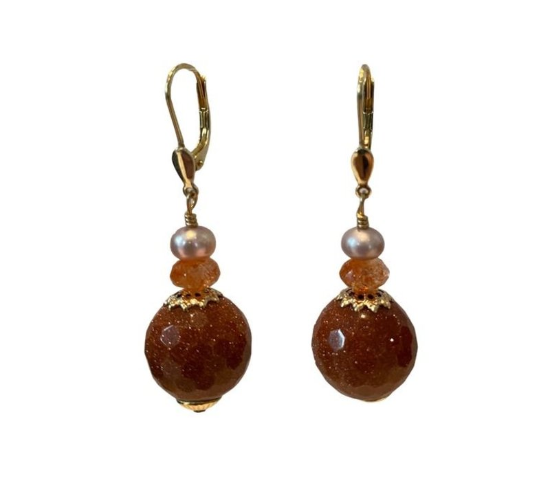 Earrings with Pearl, sandstone and goldstone