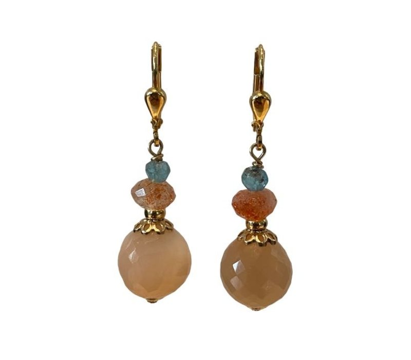 Earrings with Apatite, sandstone and moonstone